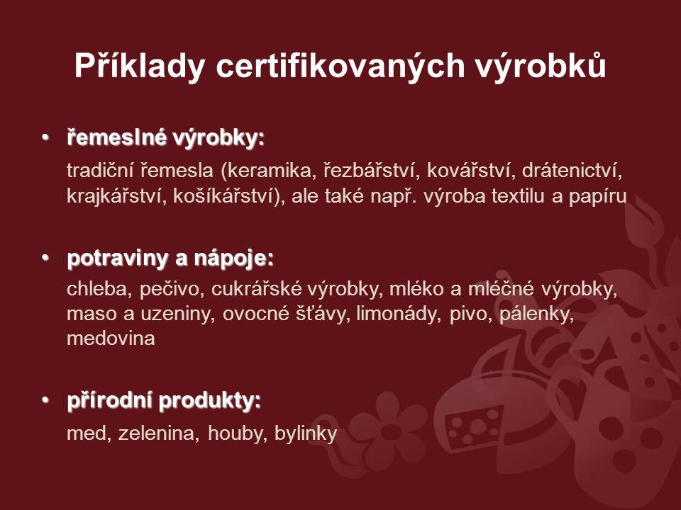 Příklady certifikovaných výrobků