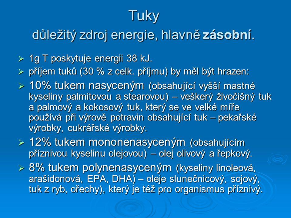 Tuky důležitý zdroj energie, hlavně zásobní.