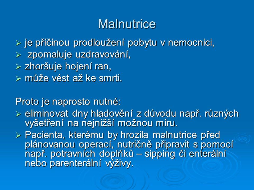Malnutrice je příčinou prodloužení pobytu v nemocnici,