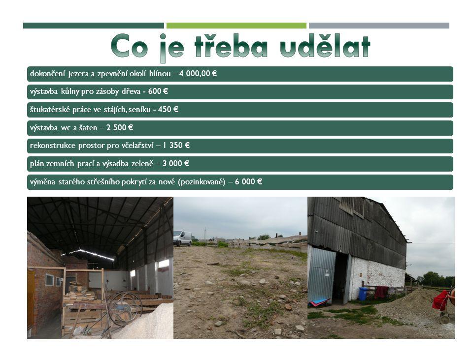 Co je třeba udělat dokončení jezera a zpevnění okolí hlínou – 4 000,00 € výstavba kůlny pro zásoby dřeva - 600 €