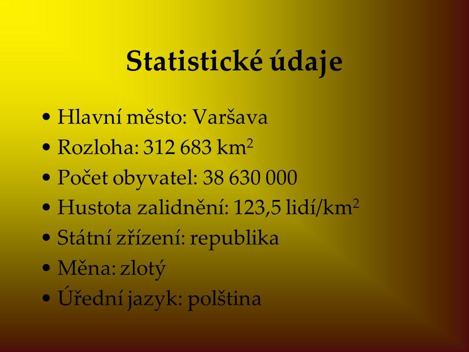 Statistické údaje Hlavní město: Varšava Rozloha: 312 683 km2