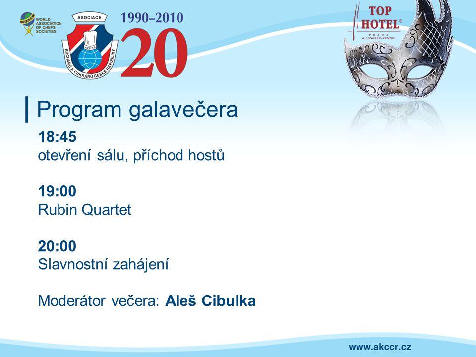 Program galavečera 18:45 otevření sálu, příchod hostů 19:00