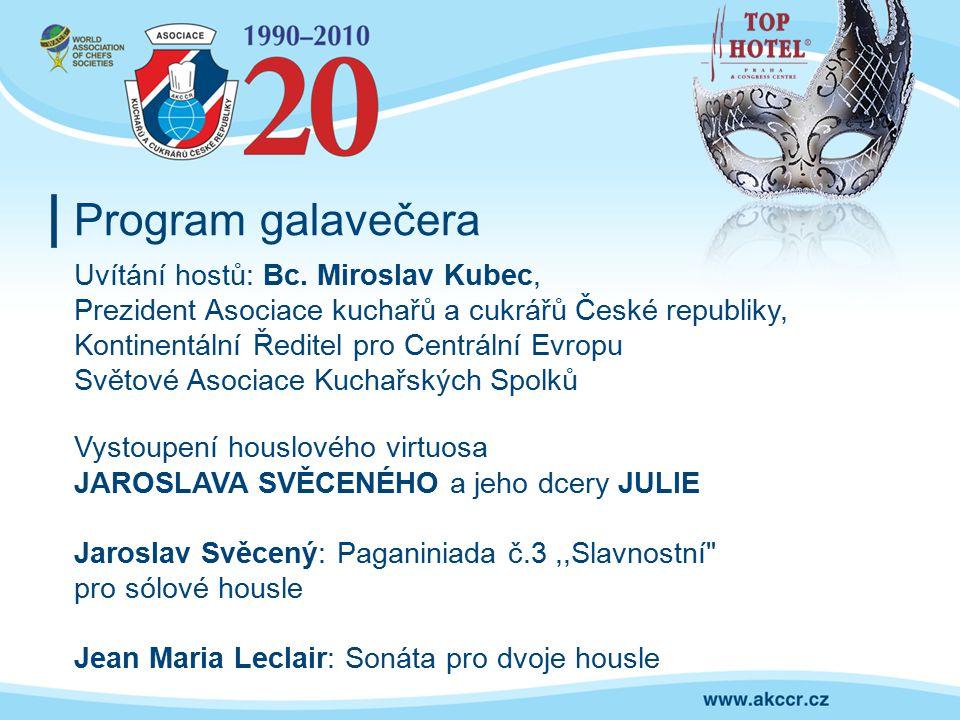Program galavečera Uvítání hostů: Bc. Miroslav Kubec,