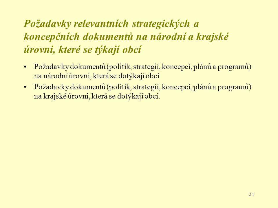 Požadavky relevantních strategických a koncepčních dokumentů na národní a krajské úrovni, které se týkají obcí