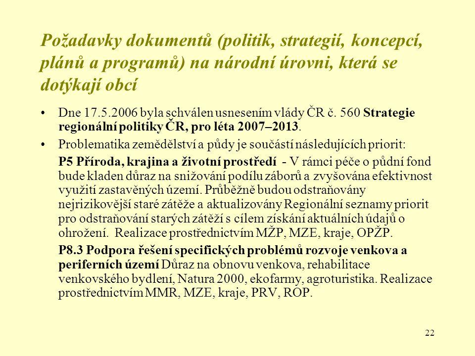 Požadavky dokumentů (politik, strategií, koncepcí, plánů a programů) na národní úrovni, která se dotýkají obcí