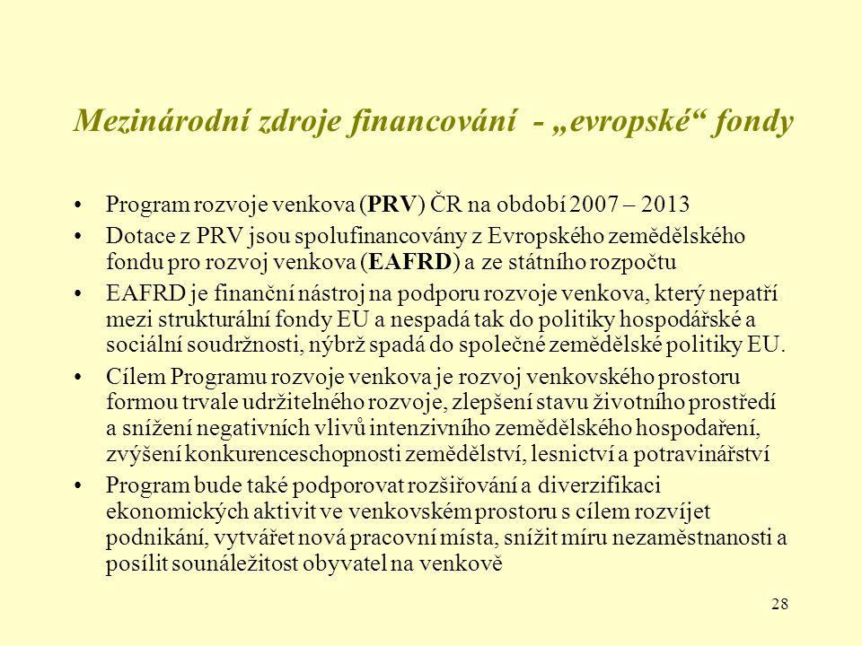 """Mezinárodní zdroje financování - """"evropské fondy"""