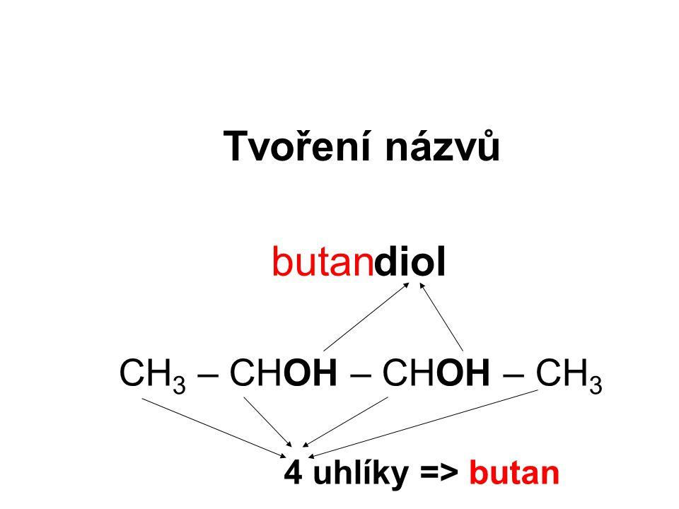 Tvoření názvů butan diol CH3 – CHOH – CHOH – CH3 4 uhlíky => butan