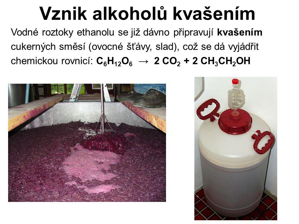 Vznik alkoholů kvašením