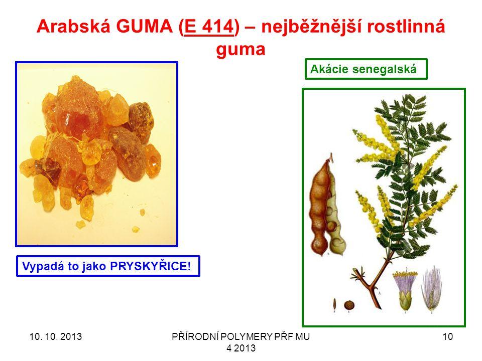 Arabská GUMA (E 414) – nejběžnější rostlinná guma