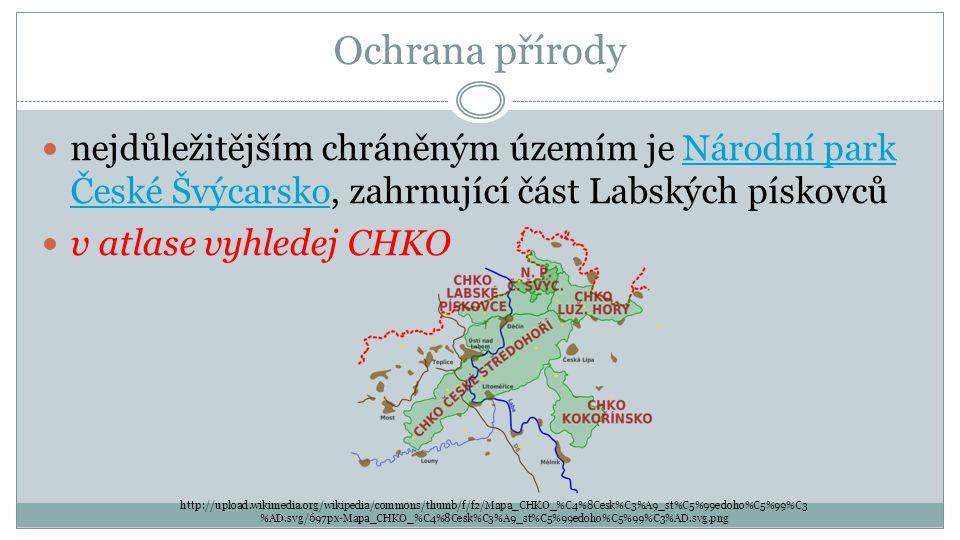Ochrana přírody nejdůležitějším chráněným územím je Národní park České Švýcarsko, zahrnující část Labských pískovců.