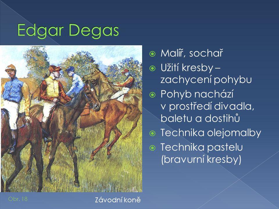Edgar Degas Malíř, sochař Užití kresby – zachycení pohybu