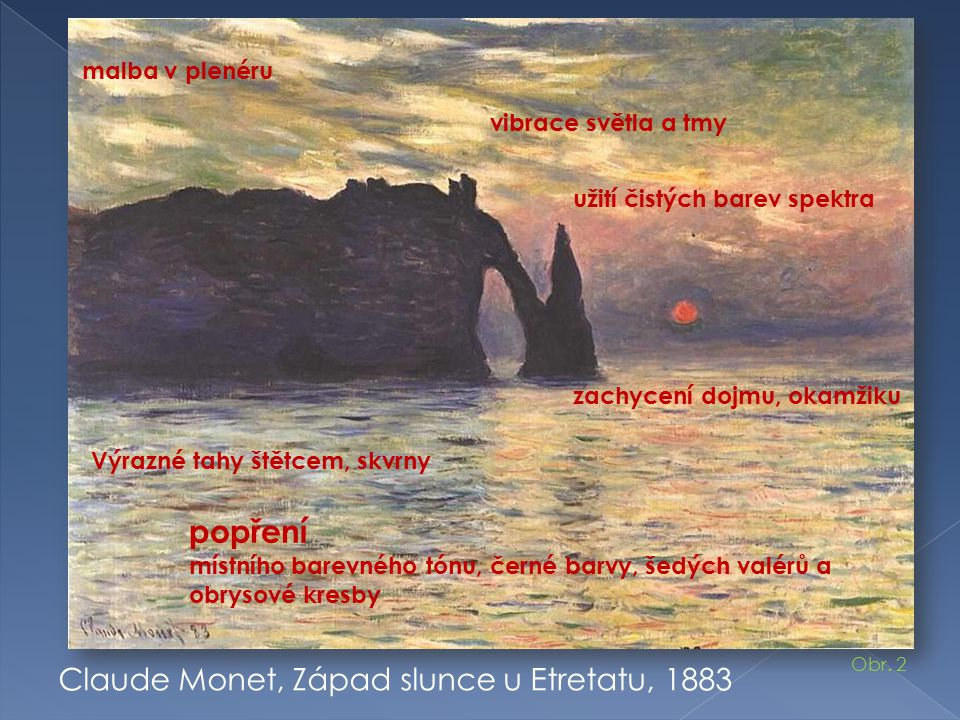 popření Claude Monet, Západ slunce u Etretatu, 1883 malba v plenéru