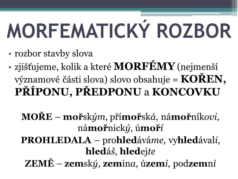MORFEMATICKÝ ROZBOR rozbor stavby slova
