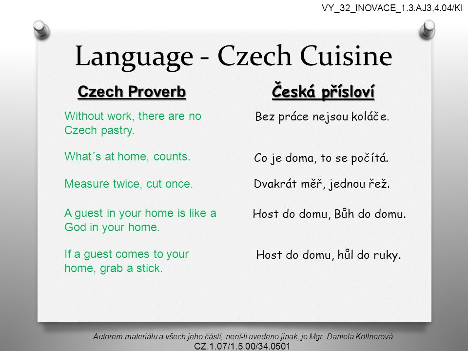 Language - Czech Cuisine