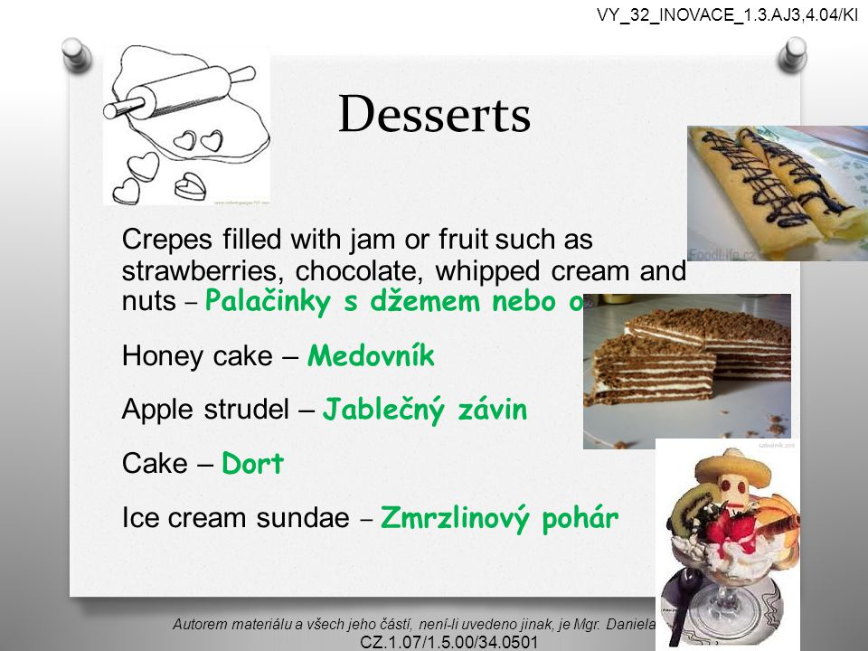 VY_32_INOVACE_1.3.AJ3,4.04/Kl Desserts.