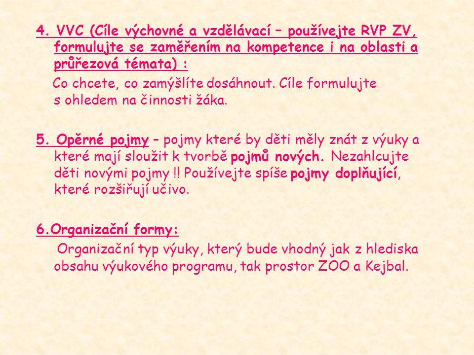 4. VVC (Cíle výchovné a vzdělávací – používejte RVP ZV, formulujte se zaměřením na kompetence i na oblasti a průřezová témata) :