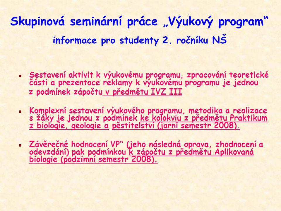 """Skupinová seminární práce """"Výukový program informace pro studenty 2"""