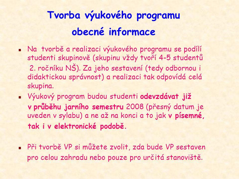 Tvorba výukového programu obecné informace