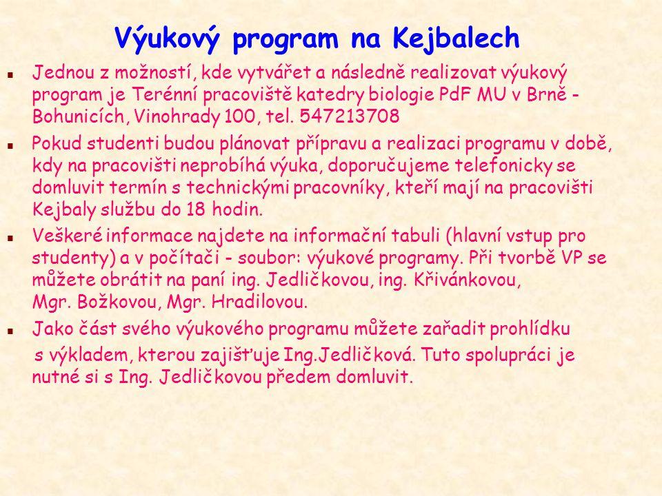 Výukový program na Kejbalech