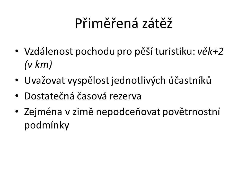 Přiměřená zátěž Vzdálenost pochodu pro pěší turistiku: věk+2 (v km)