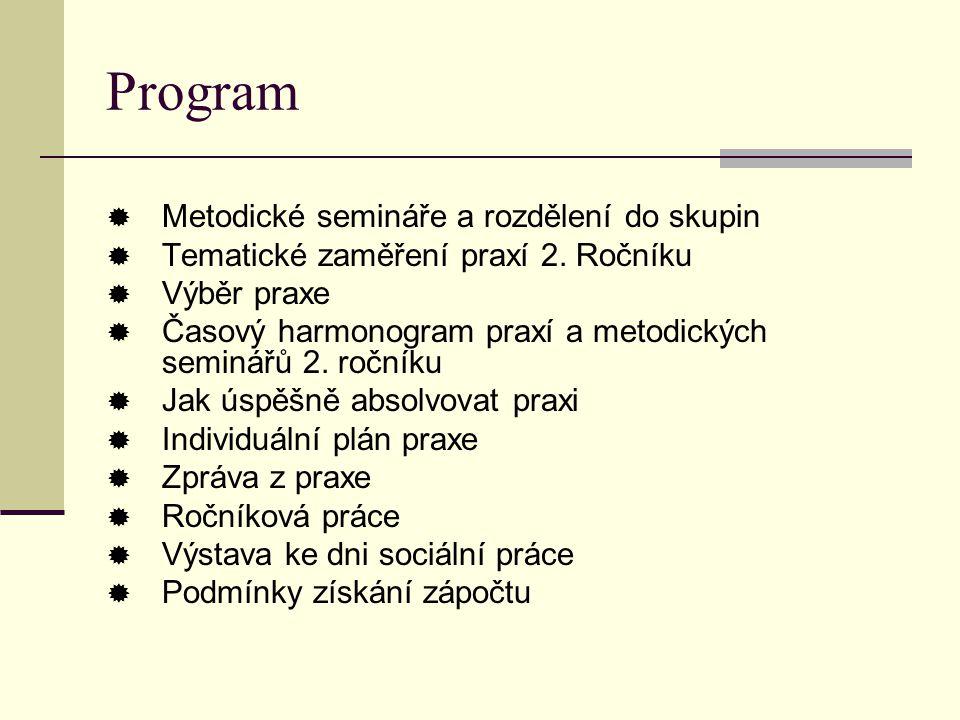 Program Metodické semináře a rozdělení do skupin