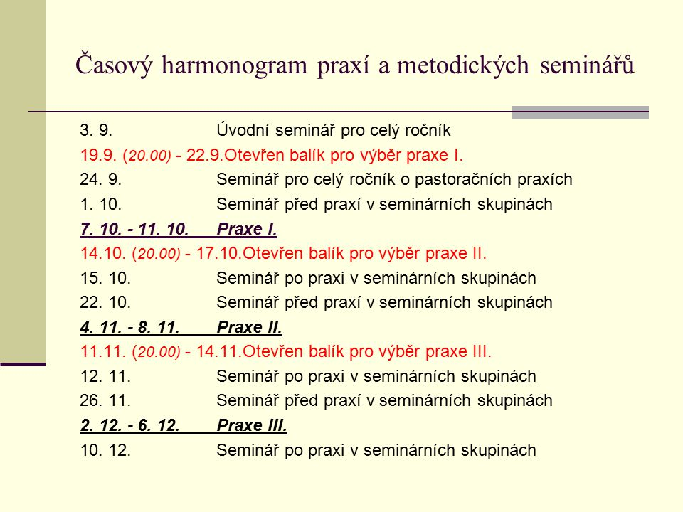 Časový harmonogram praxí a metodických seminářů