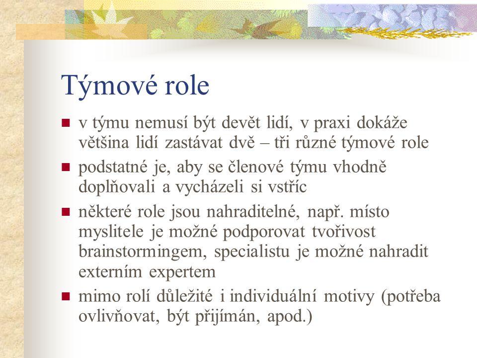 Týmové role v týmu nemusí být devět lidí, v praxi dokáže většina lidí zastávat dvě – tři různé týmové role.
