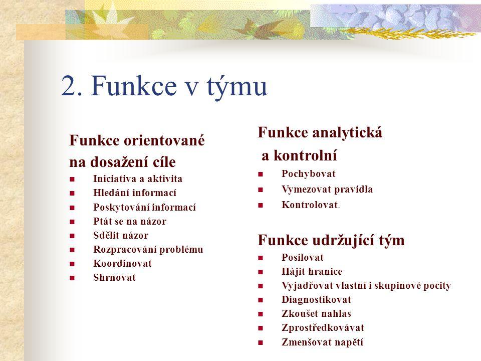 2. Funkce v týmu Funkce analytická Funkce orientované a kontrolní