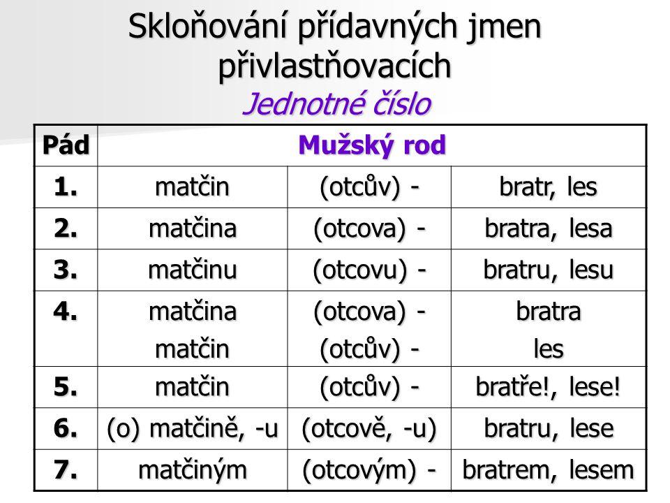 Skloňování přídavných jmen přivlastňovacích Jednotné číslo