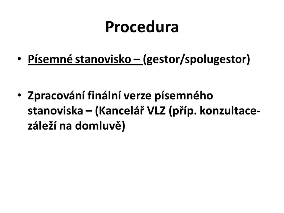 Procedura Písemné stanovisko – (gestor/spolugestor)