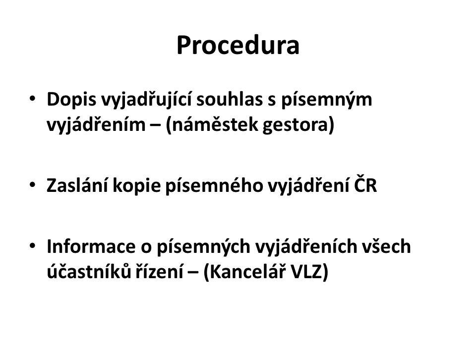 Procedura Dopis vyjadřující souhlas s písemným vyjádřením – (náměstek gestora) Zaslání kopie písemného vyjádření ČR.
