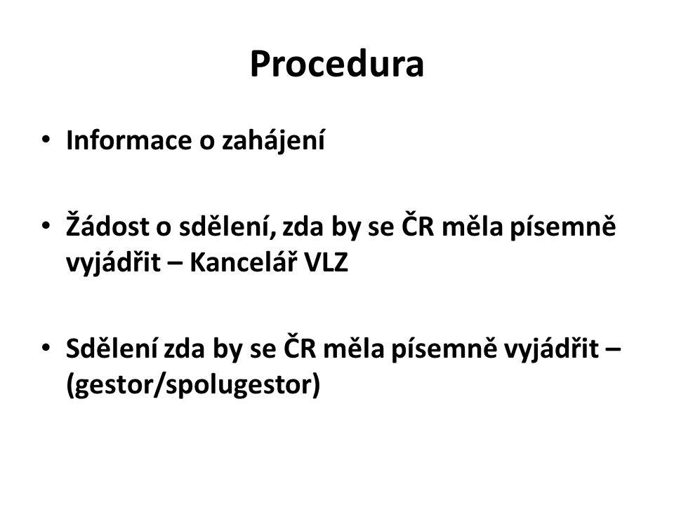 Procedura Informace o zahájení