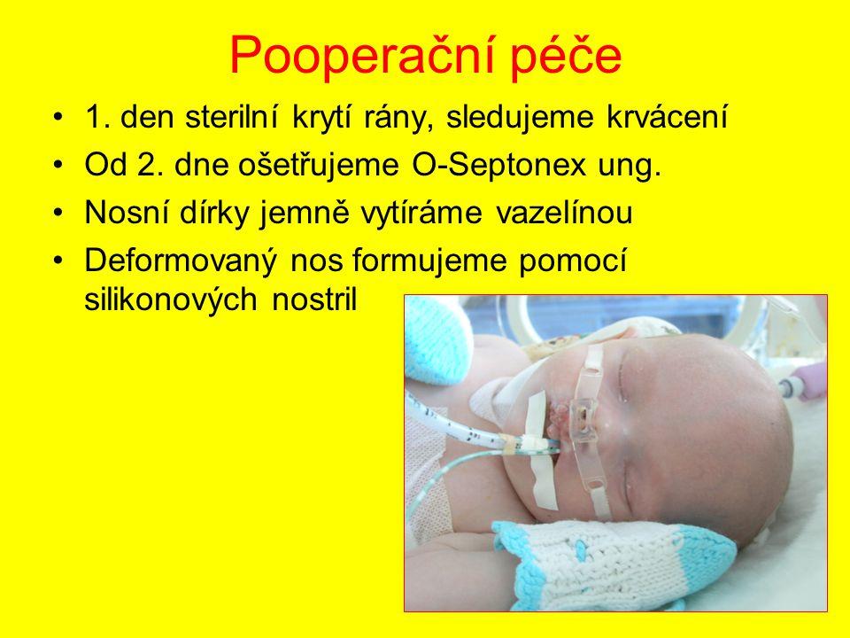 Pooperační péče 1. den sterilní krytí rány, sledujeme krvácení