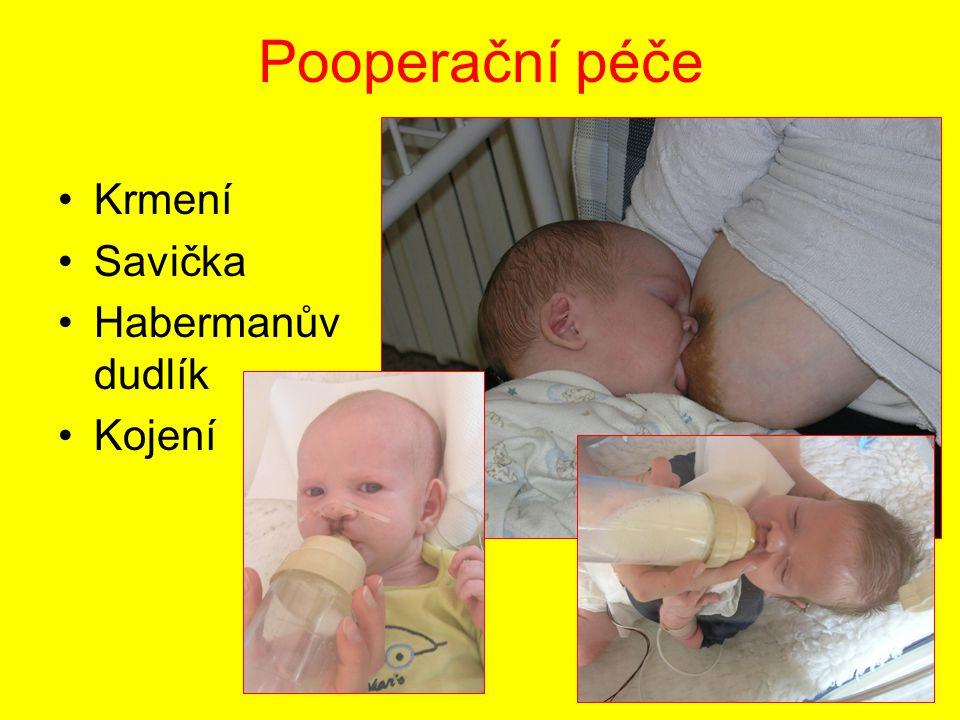 Pooperační péče Krmení Savička Habermanův dudlík Kojení