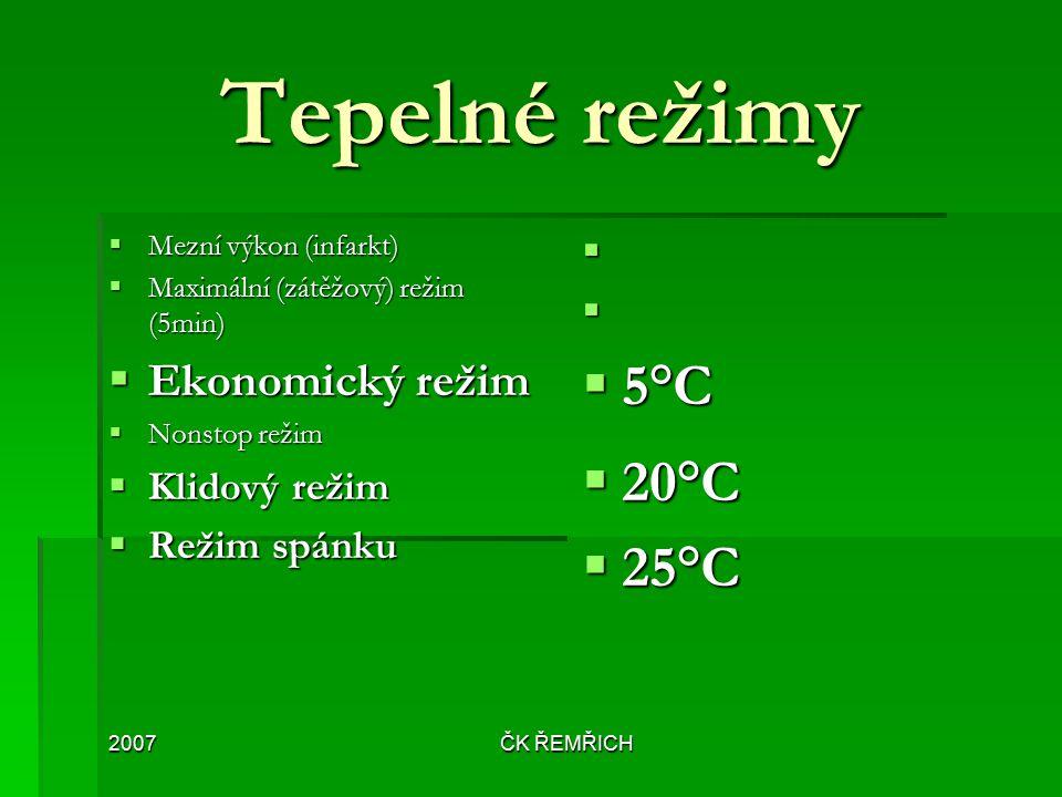 Tepelné režimy 5°C 20°C 25°C Ekonomický režim Klidový režim