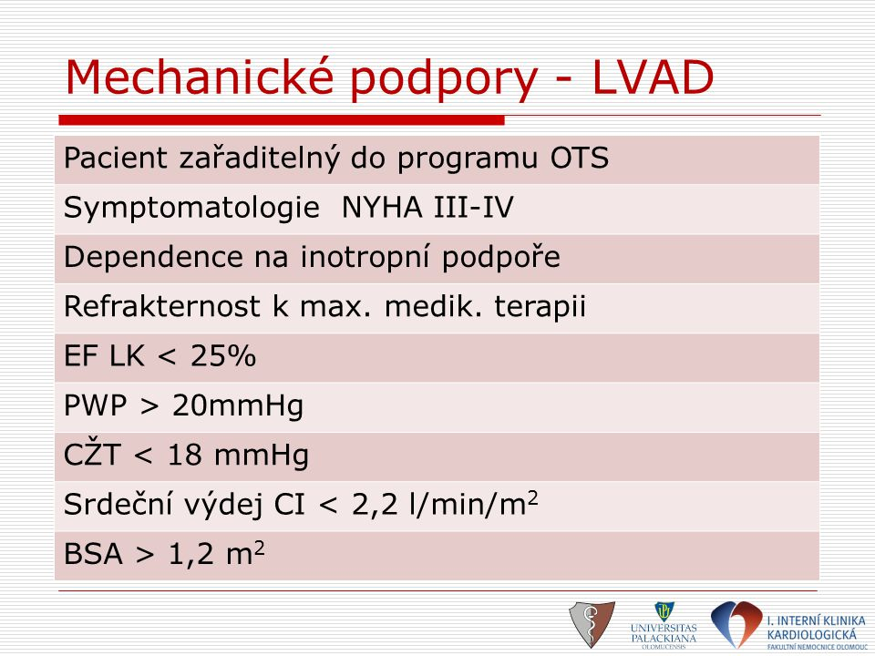 Mechanické podpory - LVAD