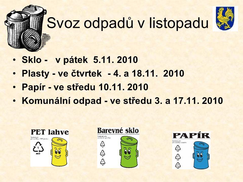 Svoz odpadů v listopadu