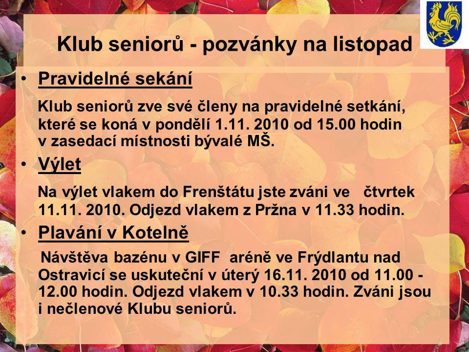 Klub seniorů - pozvánky na listopad