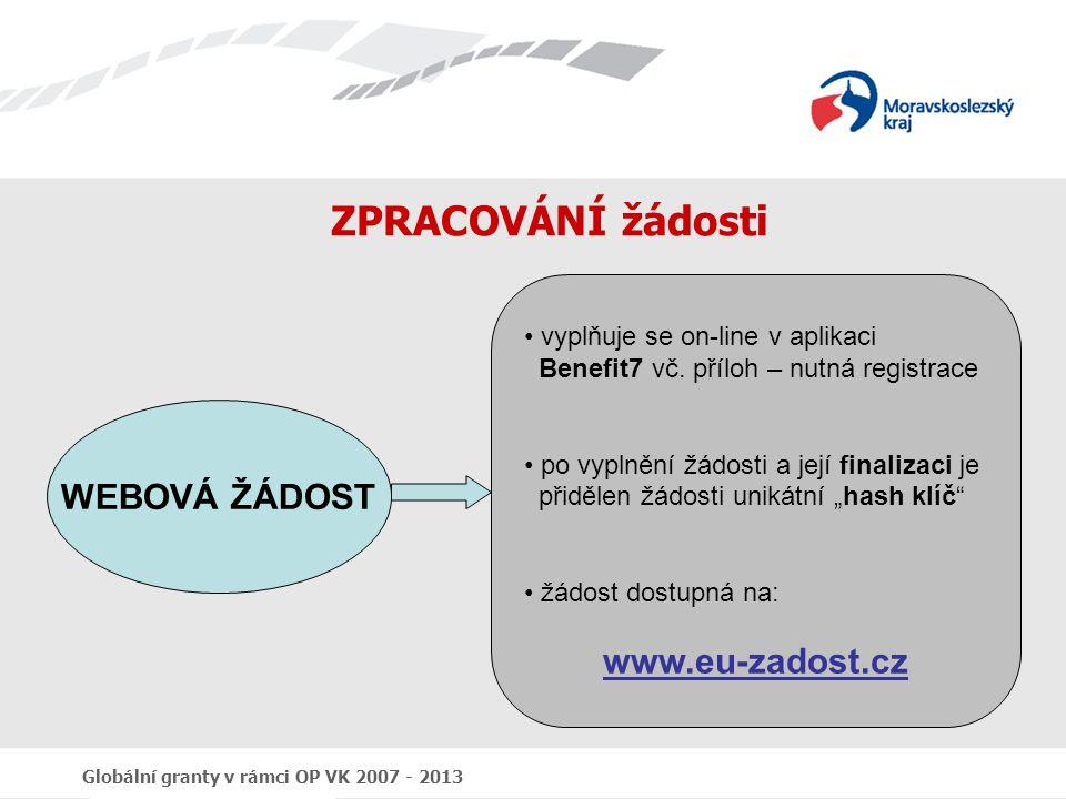 ZPRACOVÁNÍ žádosti WEBOVÁ ŽÁDOST www.eu-zadost.cz
