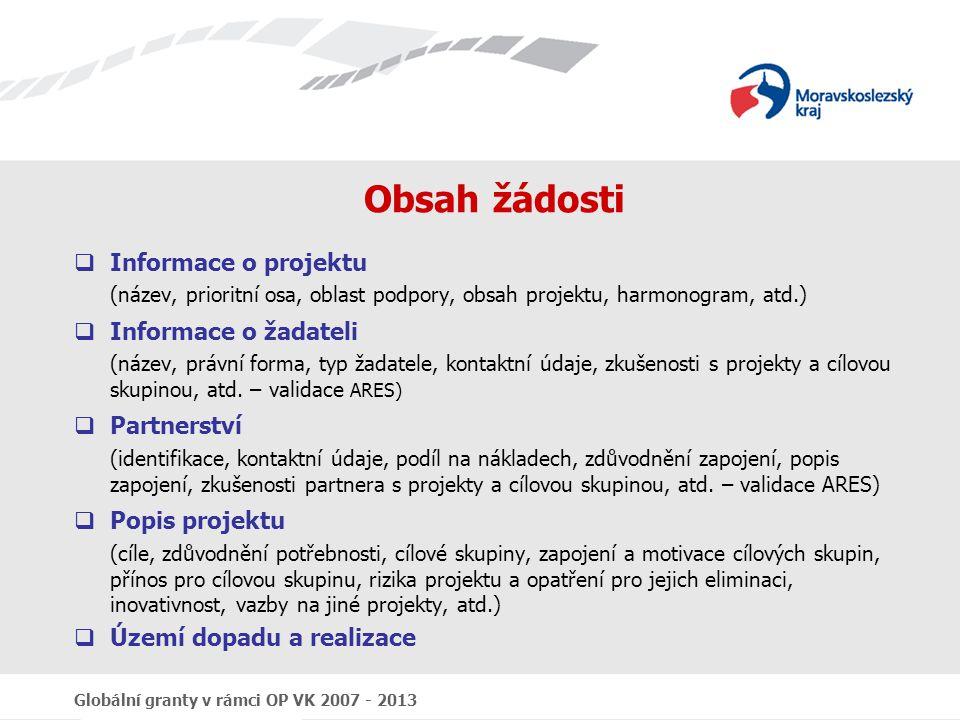 Obsah žádosti Informace o projektu Informace o žadateli Partnerství