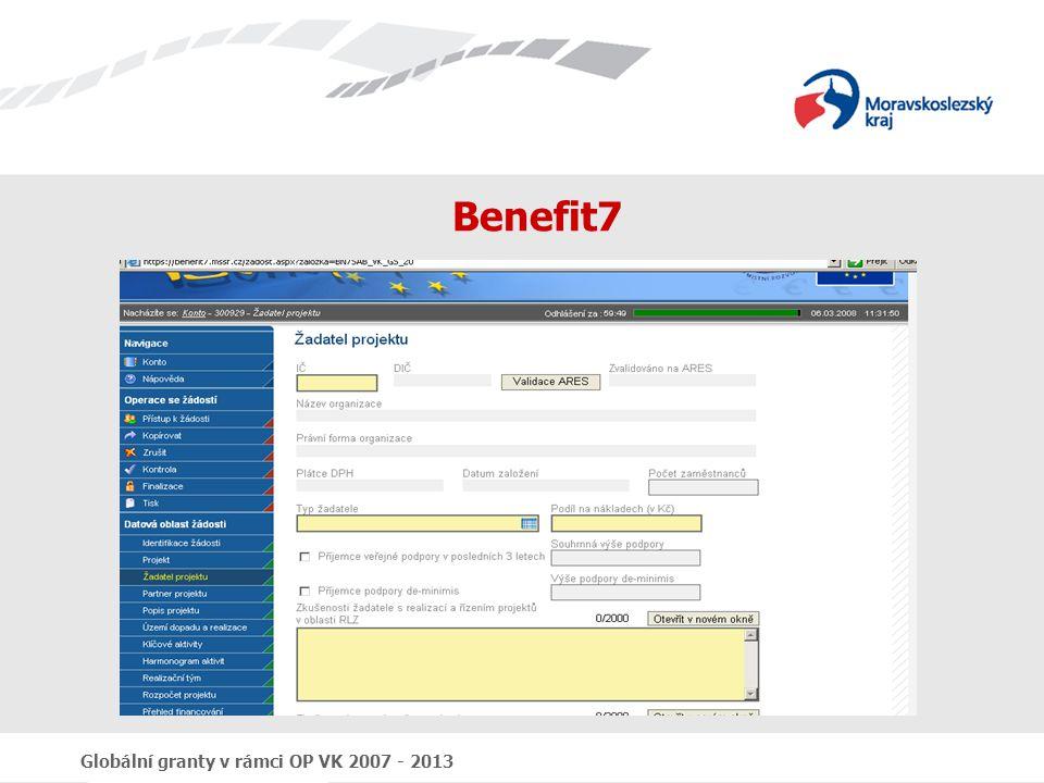Benefit7 Globální granty v rámci OP VK 2007 - 2013