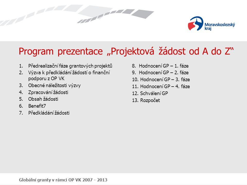 """Program prezentace """"Projektová žádost od A do Z"""