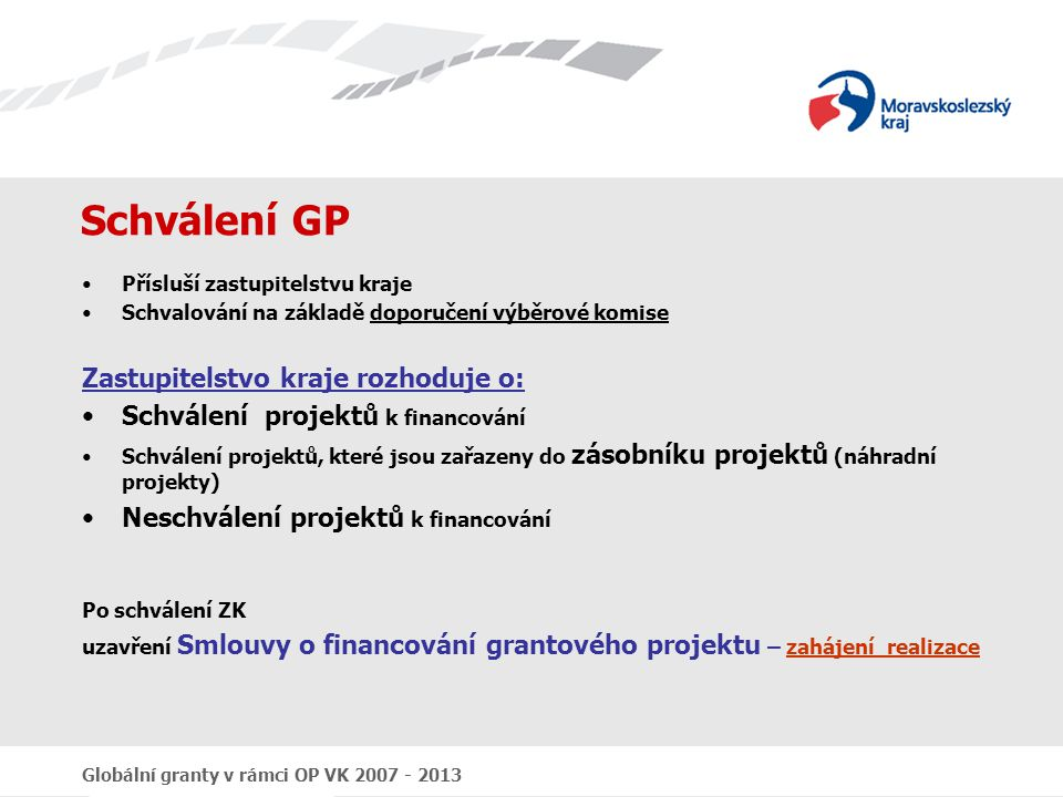 Schválení GP Zastupitelstvo kraje rozhoduje o: