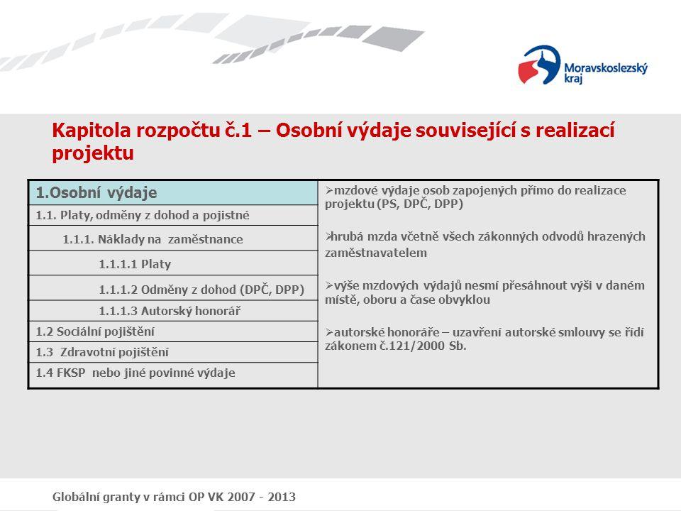 Kapitola rozpočtu č.1 – Osobní výdaje související s realizací projektu