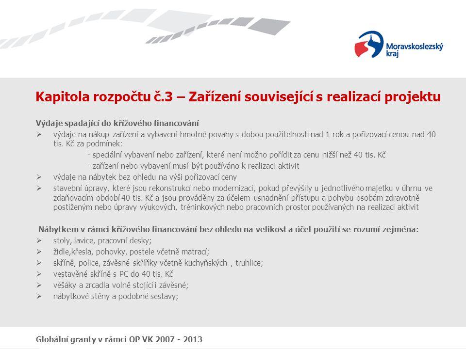 Kapitola rozpočtu č.3 – Zařízení související s realizací projektu