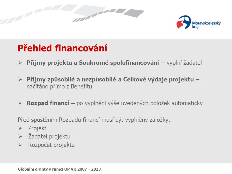 Přehled financování Příjmy projektu a Soukromé spolufinancování – vyplní žadatel.
