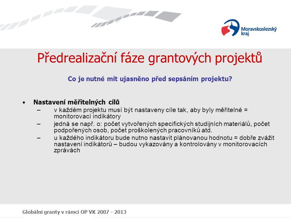 Předrealizační fáze grantových projektů