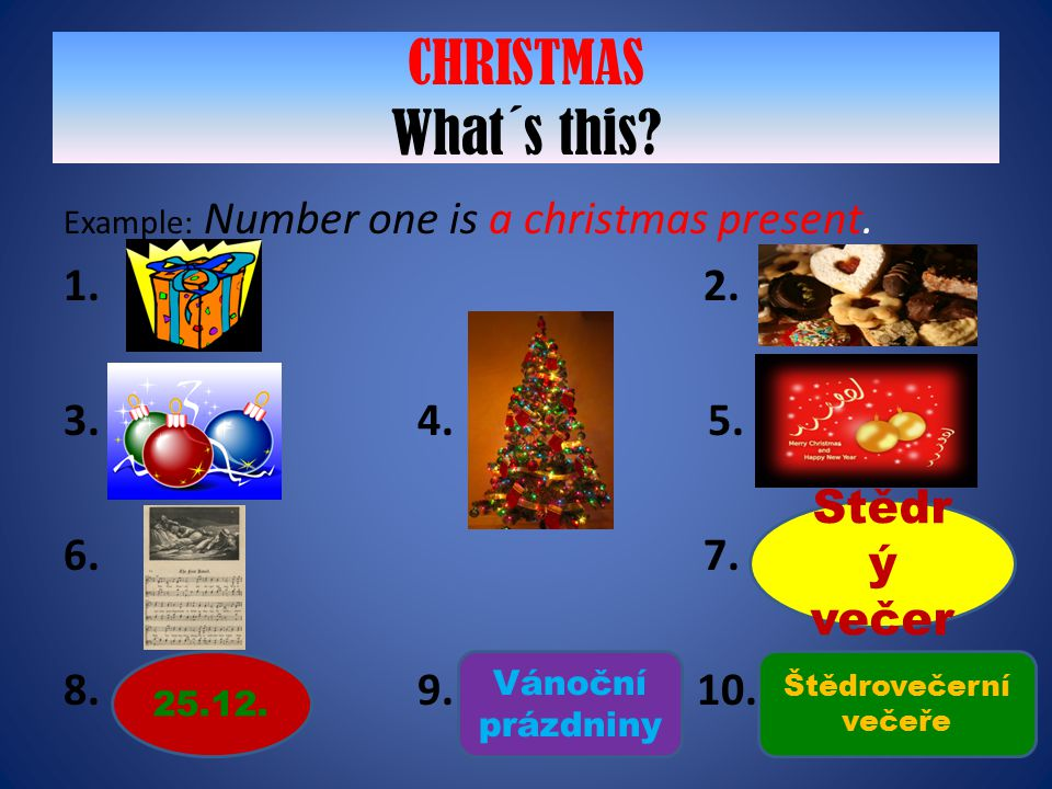 CHRISTMAS What´s this 1. 2. 3. 4. 5. 6. 7. 8. 9. 10. Štědrý večer