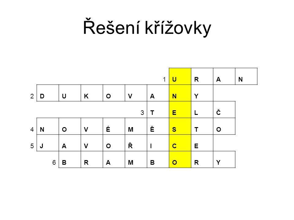 Řešení křížovky 1 U R A N 2 D K O V Y 3 T E L Č 4 É M Ě S 5 J Ř I C 6