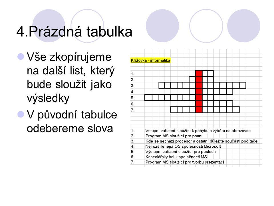4.Prázdná tabulka Vše zkopírujeme na další list, který bude sloužit jako výsledky.